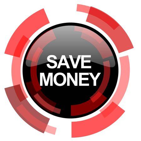 signos de pesos: ahorrar dinero roja moderna del icono del Web