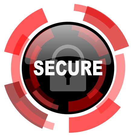 secure: secure red modern web icon