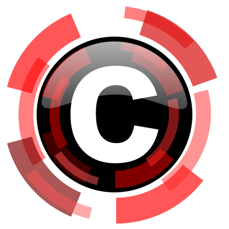 patent key: copyright red modern web icon