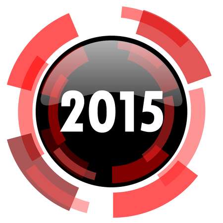 beginnings: new year 2015 red modern web icon