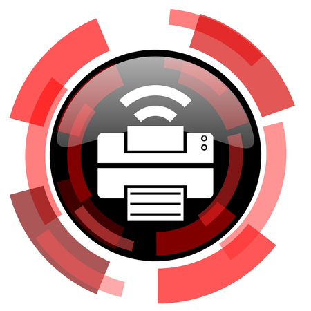 smarthone: printer red modern web icon