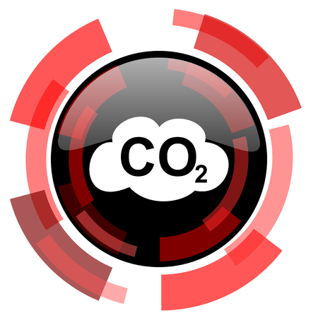 dioxide: carbon dioxide red modern web icon Stock Photo
