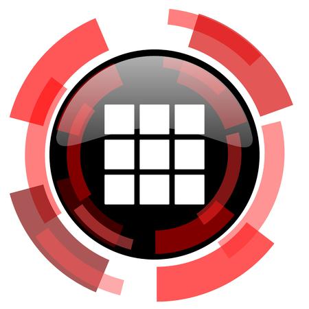 thumbnails: thumbnails grid red modern web icon Stock Photo
