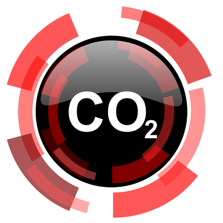 carbon dioxide: carbon dioxide red modern web icon Stock Photo