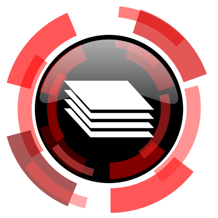 layers: layers red modern web icon Stock Photo