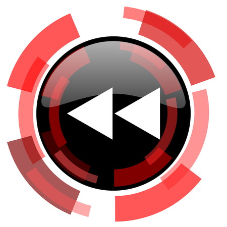 rewind: rewind red modern web icon
