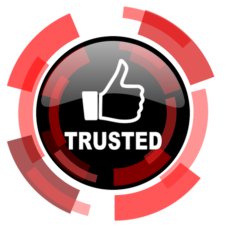 trusted: trusted red modern web icon Stock Photo
