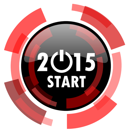 smarthone: new year 2015 red modern web icon
