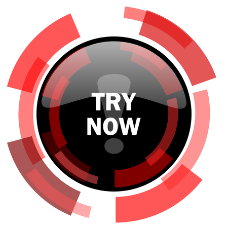 to try: try now red modern web icon Stock Photo