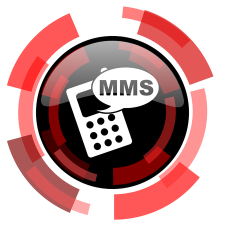 mms: mms red modern web icon Stock Photo
