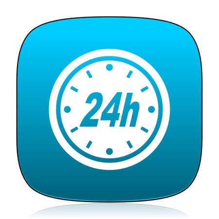 24h: 24h blue icon Stock Photo
