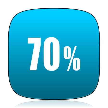 70: 70 percent blue icon Stock Photo