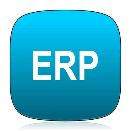 erp: erp blue icon Stock Photo