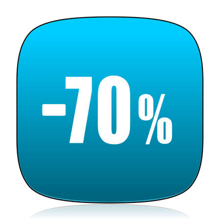 70: 70 percent sale retail blue icon Stock Photo