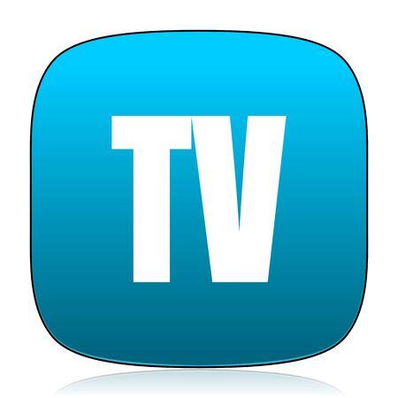 blue icon: tv blue icon Stock Photo