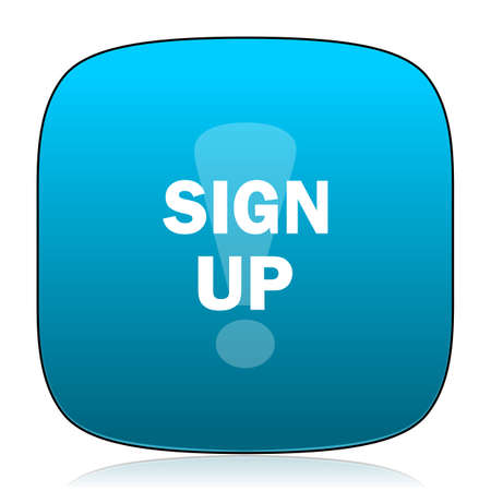 subscribing: sign up blue icon