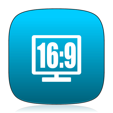 16: 16 9 display blue icon