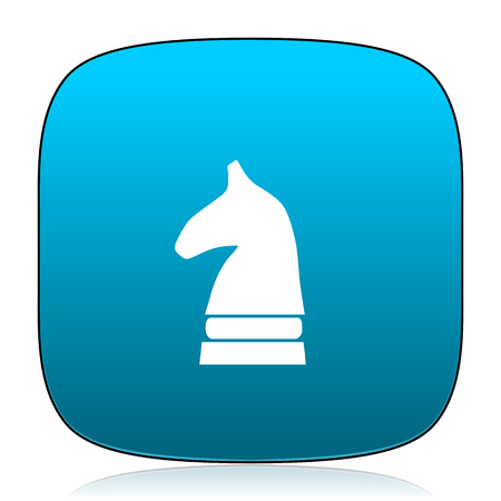 chess horse: chess horse blue icon Stock Photo