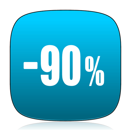 90: 90 percent sale retail blue icon Stock Photo