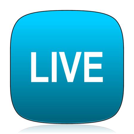 news cast: live blue icon Stock Photo