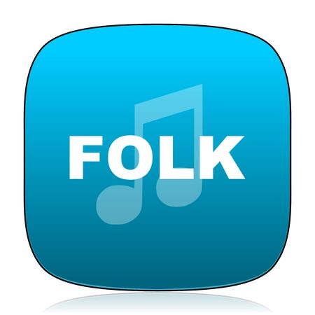 folk music: folk music blue icon Stock Photo