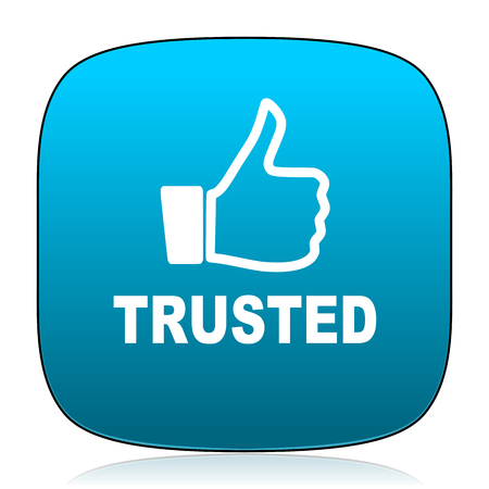 trusted: trusted blue icon Stock Photo