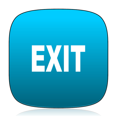emergency exit label: exit blue icon
