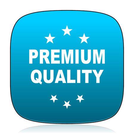 premium quality: premium quality blue icon Stock Photo