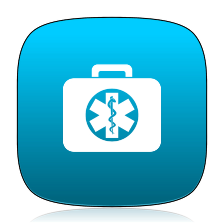 first aid kit key: rescue kit blue icon