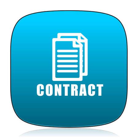 pacto: contrato icono azul Foto de archivo