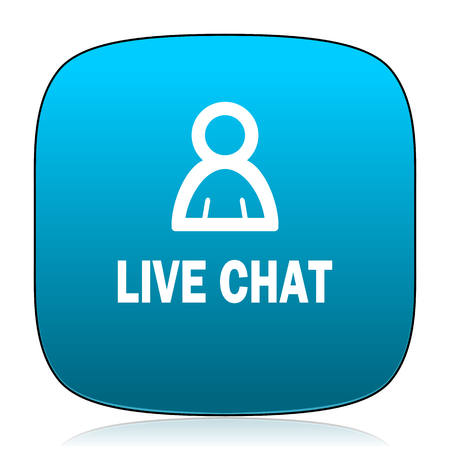 people discuss: live chat blue icon Stock Photo