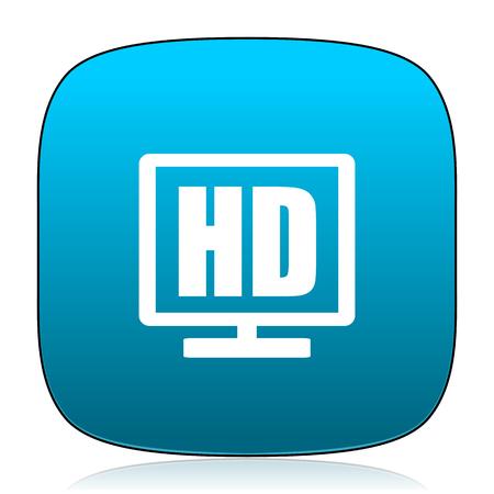 display: hd display blue icon Stock Photo