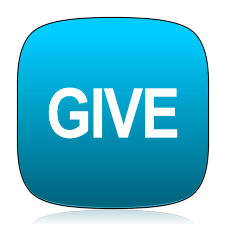 give: give blue icon Stock Photo
