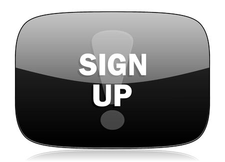 subscribing: sign up black glossy web modern icon Stock Photo