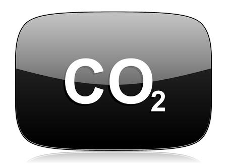 dioxido de carbono: el dióxido de carbono negro brillante Web icono moderno Foto de archivo