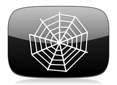 spider web: spider web black glossy web modern icon Stock Photo
