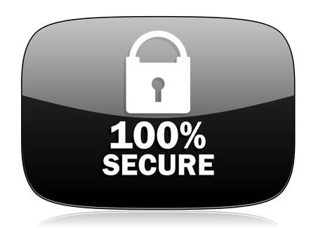 trusty: secure black glossy web modern icon Stock Photo