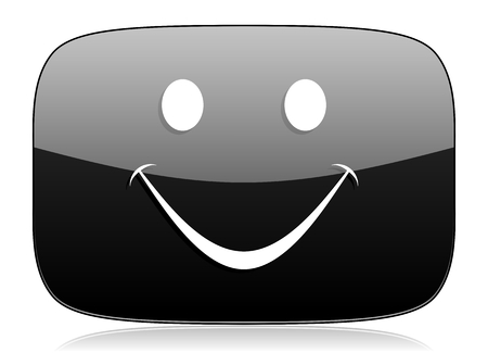 yea: smile black glossy web modern icon Stock Photo