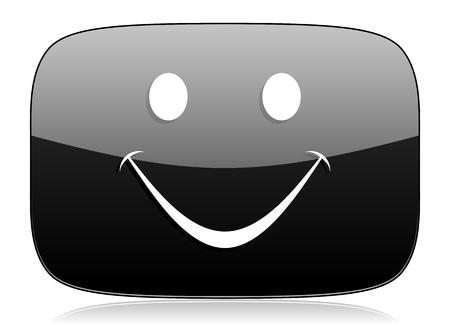 smile icon: smile black glossy web modern icon Stock Photo