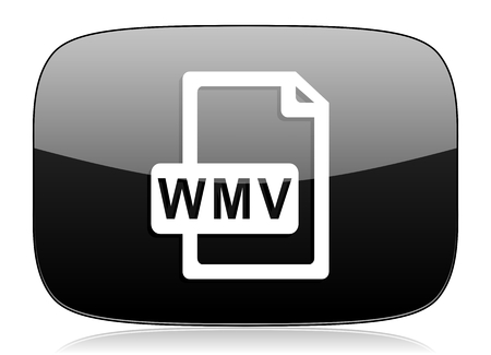 wmv: wmv file black glossy web modern icon