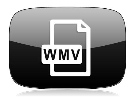 wmv: wmv file black glossy web modern icon