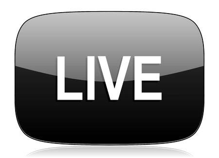 news cast: live black glossy web modern icon