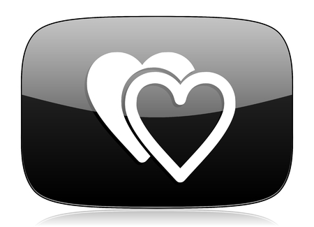 cardiologist: love black glossy web modern icon Stock Photo