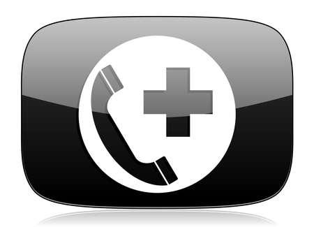 emergency call: emergency call black glossy web modern icon