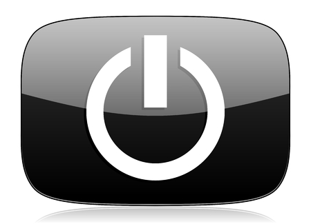 run off: power black glossy web modern icon
