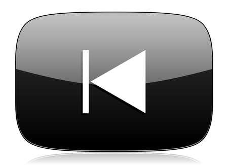 eject: prev black glossy web modern icon