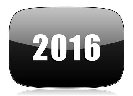 beginnings: year 2016 black glossy web modern icon Stock Photo