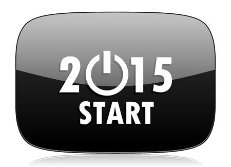 new beginnings: new year 2015 black glossy web modern icon