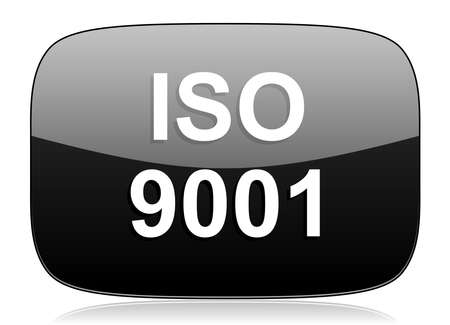 norm: iso 9001 black glossy web modern icon