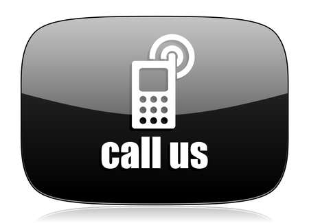 call us: call us black glossy web modern icon